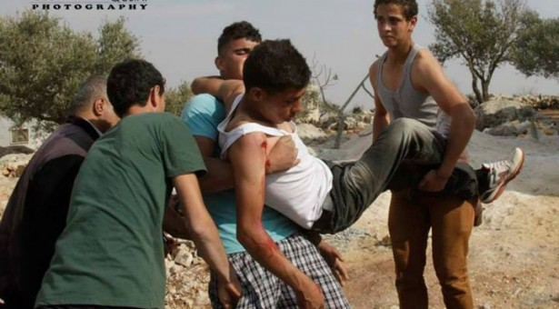 8 hurt in Qusra during clashes with Settlers & Israeli Soldiers.