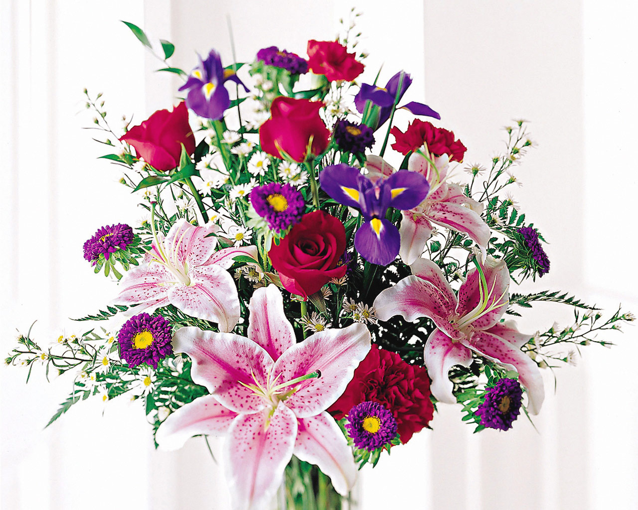 184-Stunning-Beauty-Bouquet---Roses,-Iris,-Stargazer-Lilies,-Carnations,-Asters